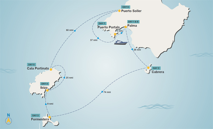 Balearic Islands itinerary map