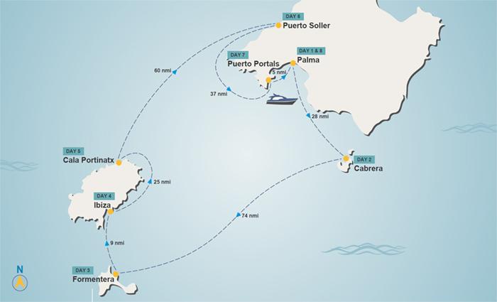 Balearic Islands itinerary map