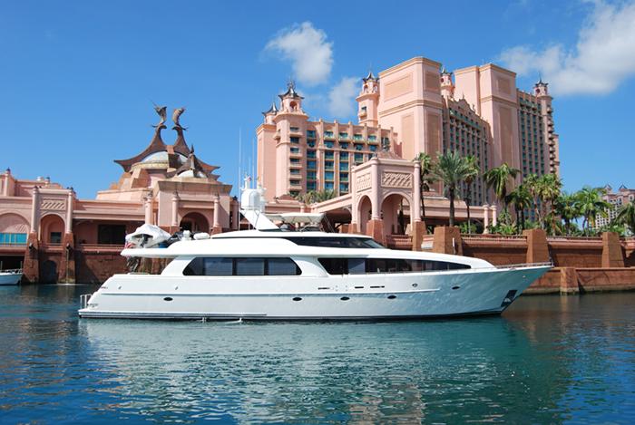 A charter yacht at the Atlantis, Bahamas