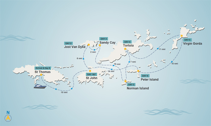 BVi itinerary map