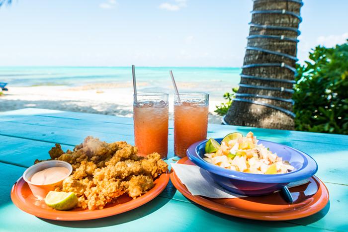 Bahamas dining on the beach