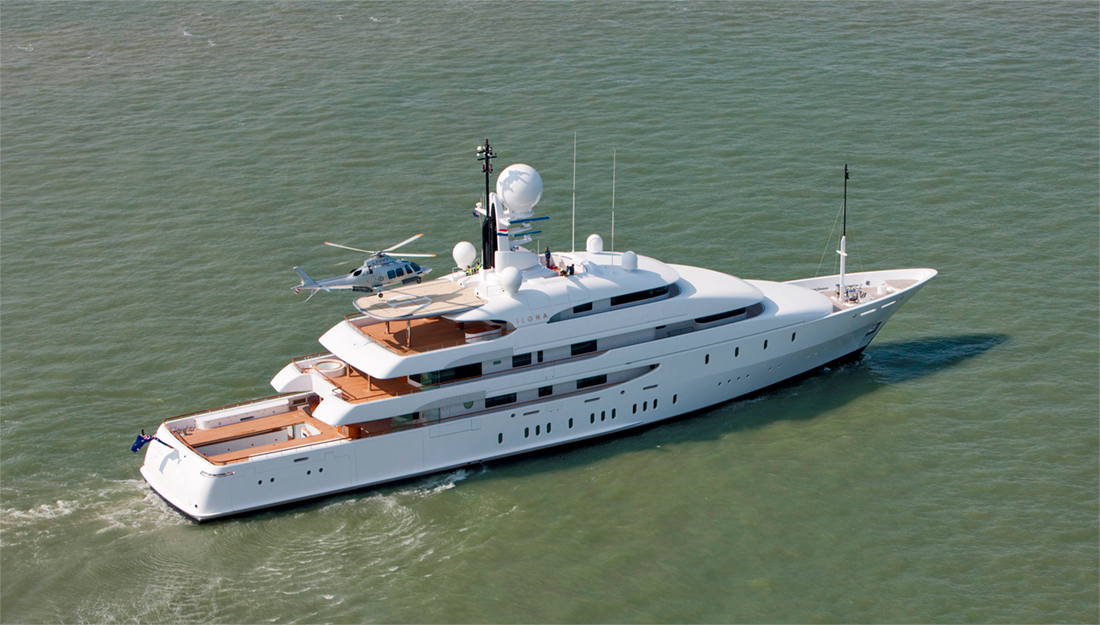 Charter yacht with a helipad