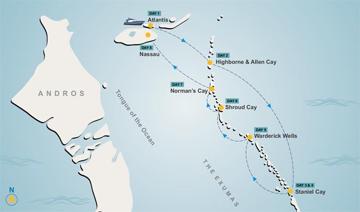 Exuma yacht charter itinerary map