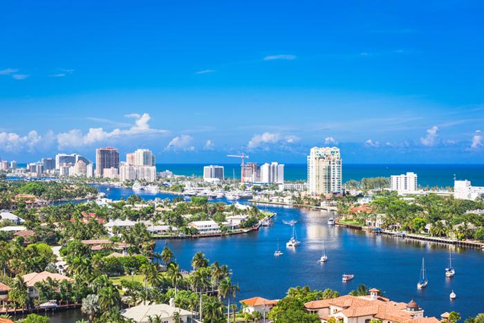 Fort Lauderdale skyline over Barrier Island