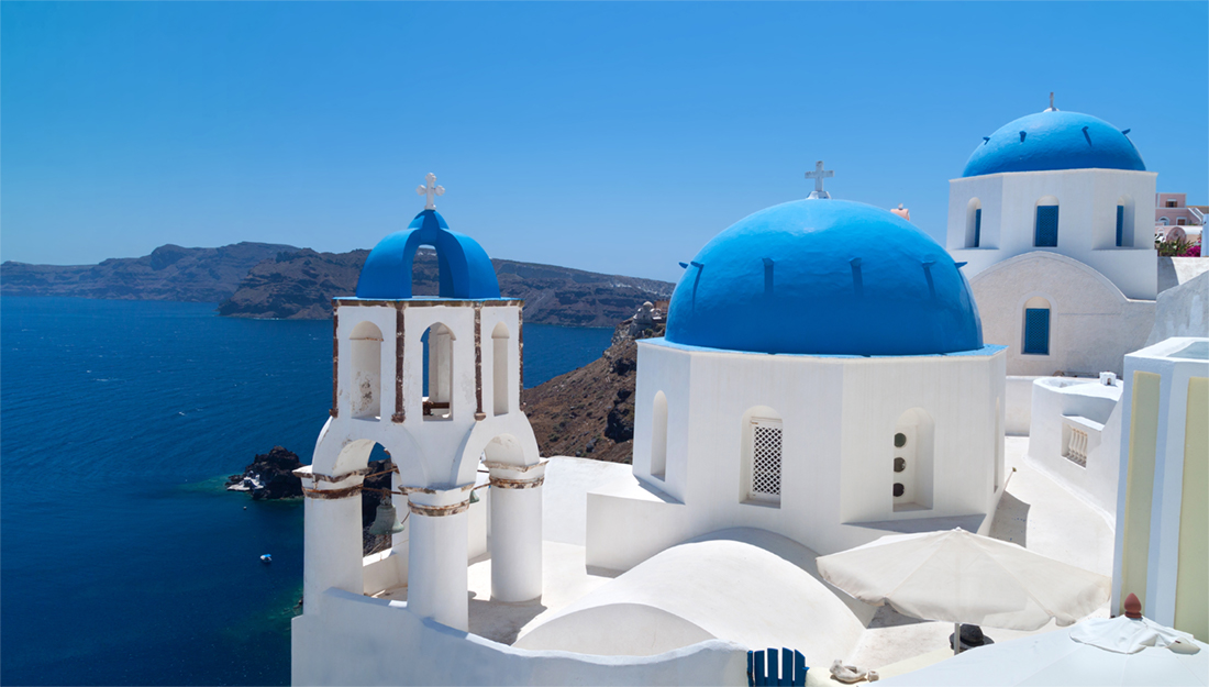 Santorini white houses