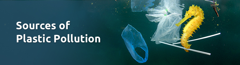Sources of plastic pollution banner