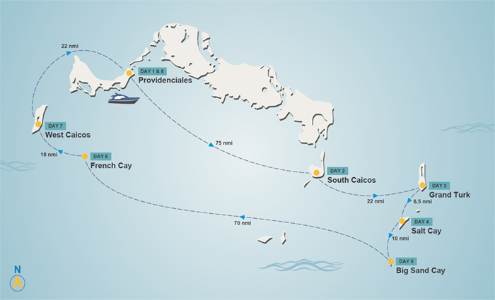 Turks and Caicos charter itinerary map