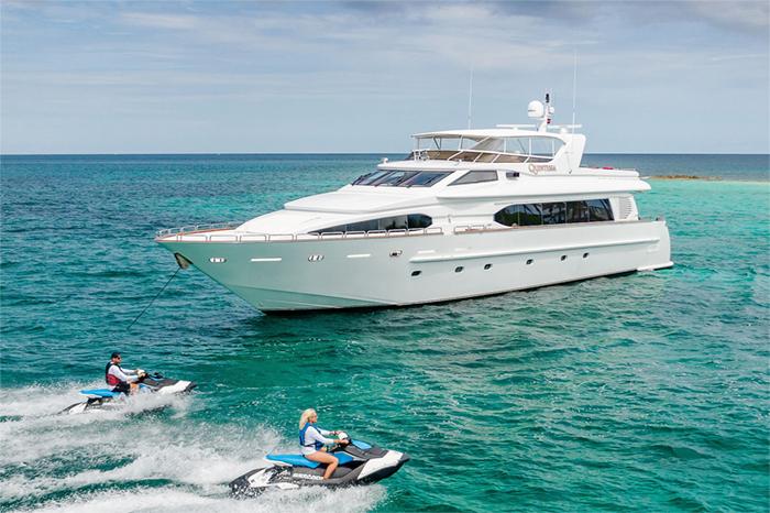 Yacht Quintessa and jetskis